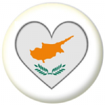 Cyprus Country Flag Heart 25mm Pin Button Badge